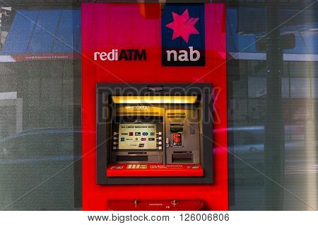 Sydney Australia - Mar 26 2016: NAB ATM on on Castlereagh street Sydney Australia. NAB is one of the four largest financial institutions in Australia and 21st largest bank in the world