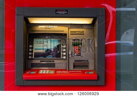 Sydney, Australia - Mar 26, 2016: NAB ATM on on Castlereagh street, Sydney, Australia. NAB is one of the four largest financial institutions in Australia and 21st largest bank in the world