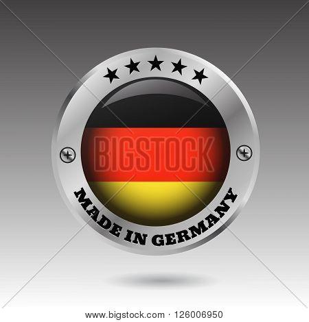 Big Made In Germany Button Flag Symbol  Vector Eps10 Illustration