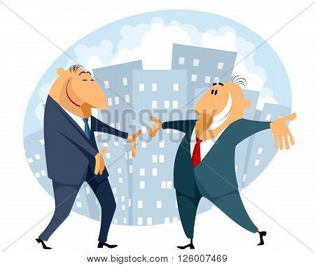 Vector illustration of a businessmen with spread arms