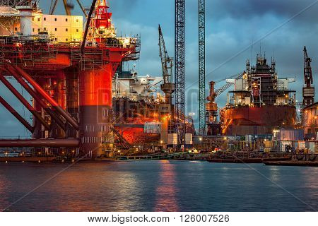 Shipyard industry - Oil Rig under construction in Gdansk Poland.
