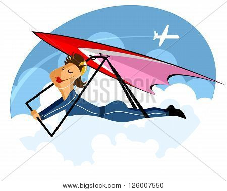 Vector illustration of a girl on hang-glider