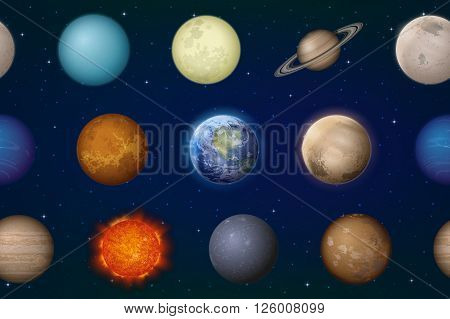 Space Seamless Background with Solar System Planets Sun, Earth, Moon, Mercury, Venus, Mars, Jupiter, Saturn, Uranus, Neptune, Pluto and Charon. Elements Furnished by NASA