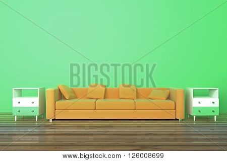 Brown sofa and bedside-tables in green room with wooden floor. 3D Render