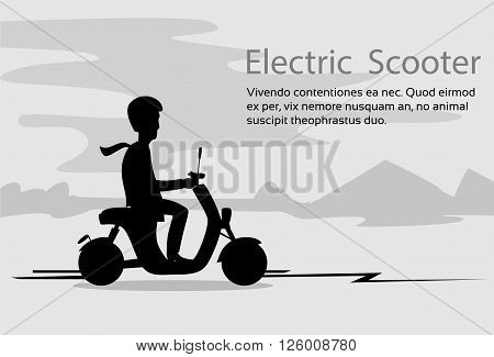 Man Silhouette Ride Moped Electric Scooter, Motorcycle Wearing Helmet Nature Black Background Vector Illustration