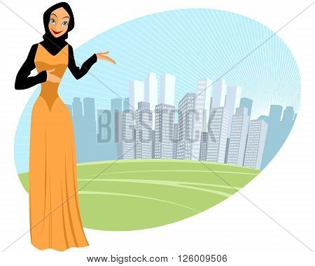 Vector illustration of a muslim girl - urban scene