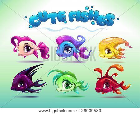 Funny cartoon little fishes set, vector fish pets characters, aquarium animals