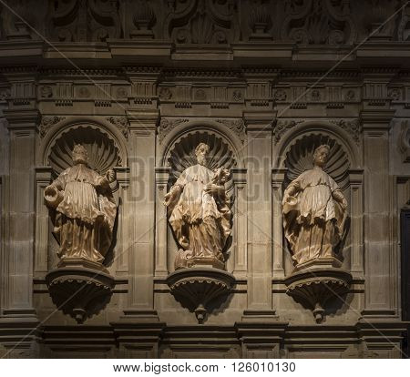 Logroño Spain - April 9 2016. Statues of choir of Co-cathedral Santa Maria de la Redonda. La Rioja Spain.