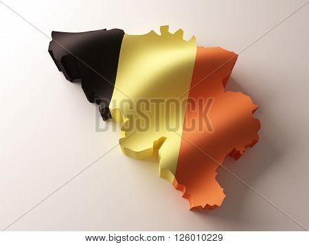 Flag map of Belgium on white background. 3d rendering.