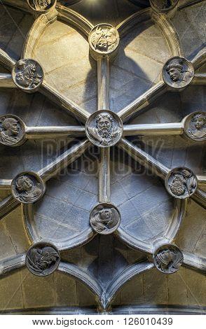 Logroño Spain - April 9 2016. Ceiling detail of San Bartolome church in Logroño La Rioja. Spain.