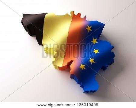 Flag map of Belgium and european Union on white background.