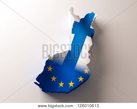 Flag map of Fin;and and European Union