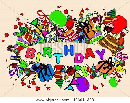 Birthday line art design vector illustration. Natal day separate objects. Hand drawn doodle design elements.