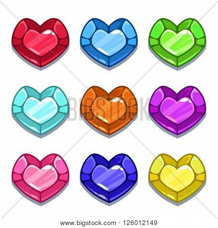 Funny cartoon colorful heart shape gems set, vector GUI assets, isolated on white