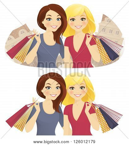 Shopping together. Two woman with shopping bags on the street