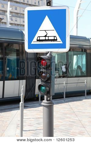 Road sign for tramway