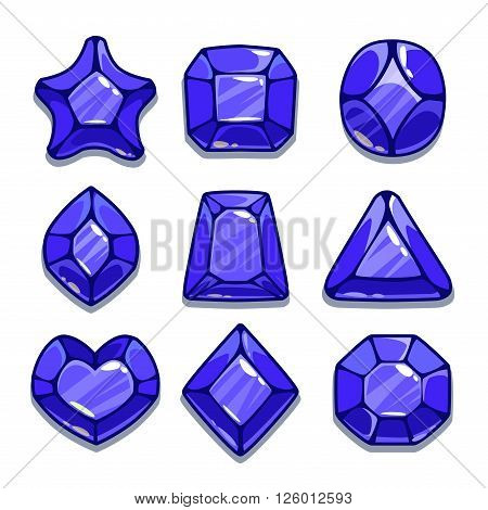 Cartoon different shapes gems set, navy blue game ui assets,  isolated on white
