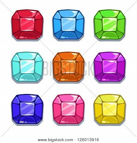 Funny cartoon colorful gems set, square shape vector GUI assets, isolated on white