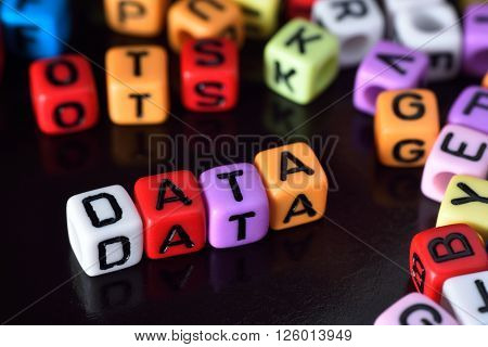 Data word surrounding with lot colorful dice