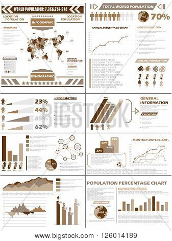 INFOGRAPHIC DEMOGRAPHICS POPULATION BROWN for web and other