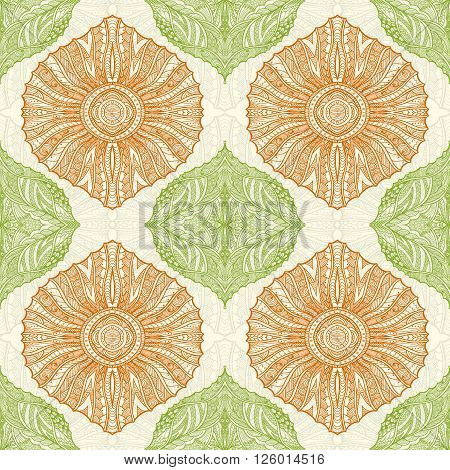 Seamless pattern in  Zen-doodle or  Zen-tangle  style green orange for wallpaper or for decorate package clothes  or different things
