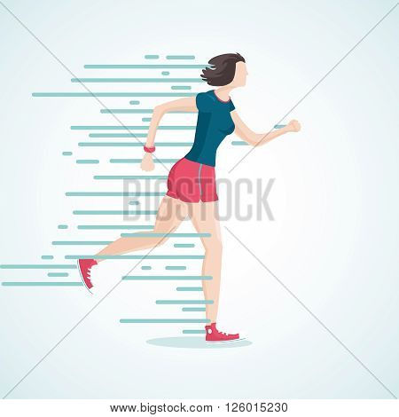 Isolated cartoon illustration of a running woman