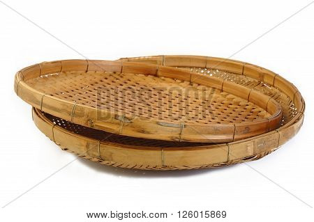 threshing basket wooden at on white background