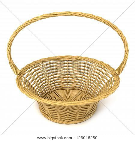 Empty wicker basket. 3D render illustration isolated on white background