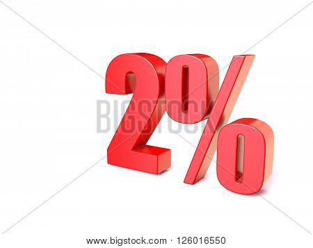 Red percentage sign 2. 3D render illustration isolated on white background