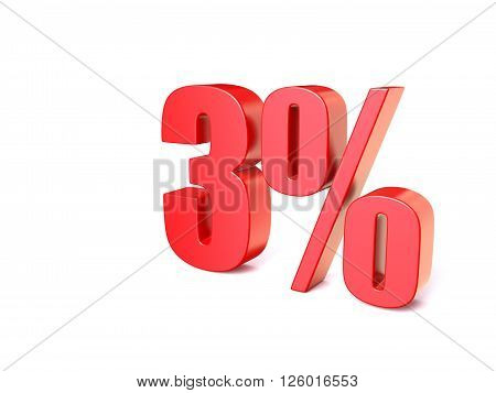 Red percentage sign 3. 3D render illustration isolated on white background