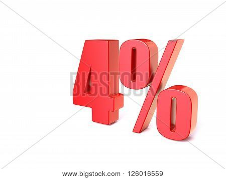 Red percentage sign 4. 3D render illustration isolated on white background