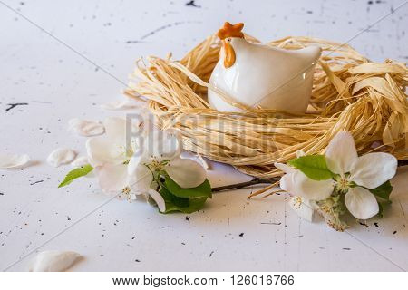 Easter Decoration Of Chicken Figure And Flowers