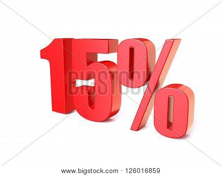 Red percentage sign 15. 3D render illustration isolated on white background