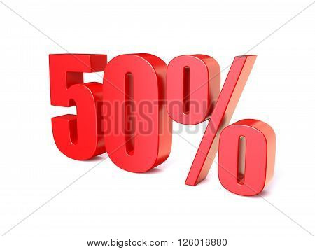 Red percentage sign 50. 3D render illustration isolated on white background