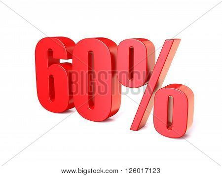 Red percentage sign 60. 3D render illustration isolated on white background