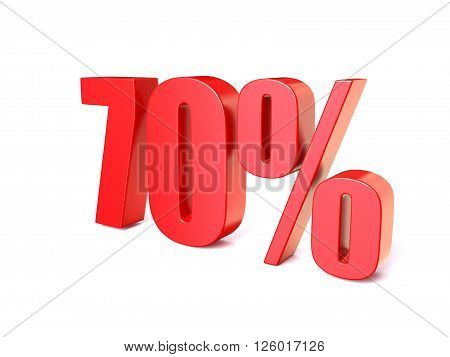Red percentage sign 70. 3D render illustration isolated on white background