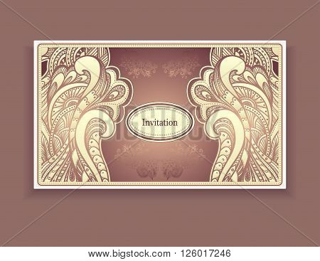 Template vintage invitation with Zen-doodle or  Zen-tangle  style ornament  in beige brown colors for Wedding or for label or for template package or for creative Post  Card