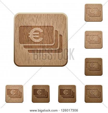 Set of carved wooden Euro banknotes buttons in 8 variations.
