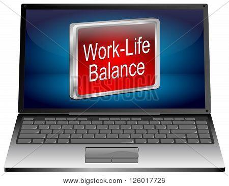 Laptop computer with Work Life Balance 3D Illustration