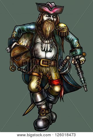 Illustration fortunate pirate. He holds a chest with treasure and carries weapons