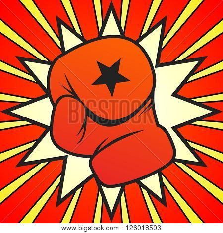 Vector Boxing Gloves Punch Illustration on dynamic background