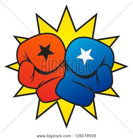 Vector Boxing Gloves Punch Illustration on white background