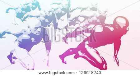 Business Competition With Men Racing to Succeed 3d Illustration Render 3d Illustration Render