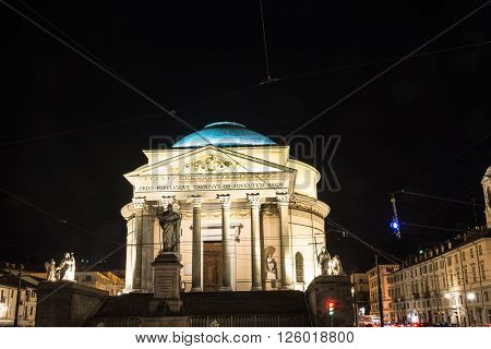 Turin,Italy,Europe - October 24,  2014 : Night view of the Gran Madre Church illuminated by brilliant lights