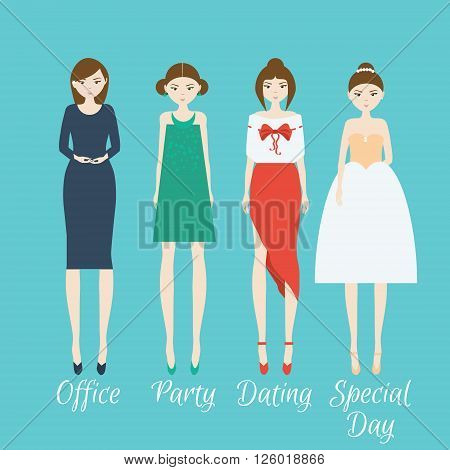 Woman character set. Different outfits for life situations and events
