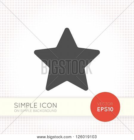 Flat five-pointed star icon. Star icon eps. Star icon image. Star icon shape isolated on simple background.