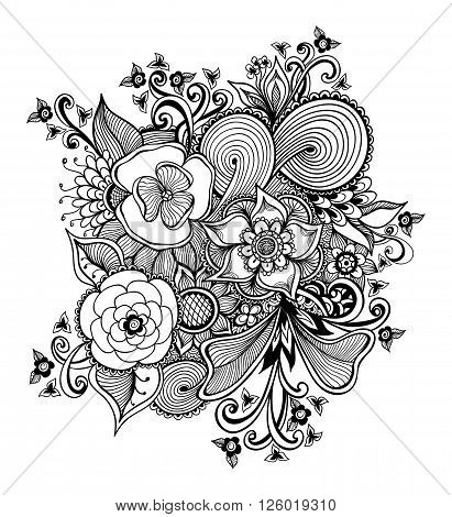Zen-doodle or Zen-tangle bouquet of  flowers black on white for   package or  for coloring page or relax coloring book or tattoo