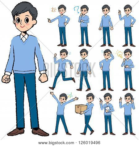 Set of various poses of Blue clothing dad in hand painted