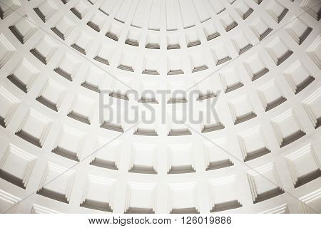 MOSCOW - MARCH 3: Dome with caissons inside Park Kultury metro station on March 3, 2016 in Moscow. The station has a large imposing vestibule located on the corner of Garden Ring.