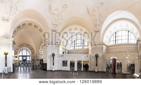 MOSCOW - MARCH 3: Lobby of the Oktyabrskaya metro station on March 3, 2016 in Moscow. Oktyabrskaya metro station was completely reconstructed in 2010.